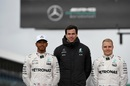 Lewis Hamilton, Christian Toto Wolff and Valtteri Bottas at the Launch