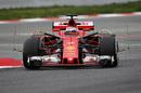 Kimi Raikkonen on track in the Ferrari SF70-H with aero sensors