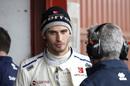 Antonio Giovinazzi in the Sauber garage