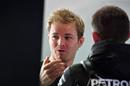 Nico Rosberg in the Mercedes garage