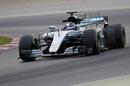 Valtteri Bottas in the Mercedes W08 with aero sensor