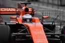 Fernando Alonso leaves the garage with aero sensor