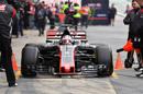 Romain Grosjean makes a pit stop