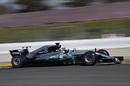 Valtteri Bottas at speed in the Mercedes