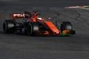 Stoffel Vandoorne in the McLaren with aero paint on front wing