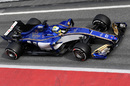 Marcus Ericsson makes his way down the pit lane