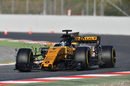 Nico Hulkenberg on track in the Renault with aero sensors
