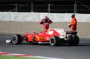 Kimi Raikkonen stops his Ferrari on track