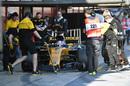 Jolyon Palmer makes a pit stop