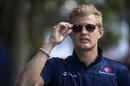 Marcus Ericsson arrives the paddock on Thursday