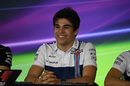 Lance Stroll answers a question from media in the press conference