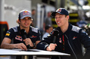 Carlos Sainz and Daniil Kvyat talks with media