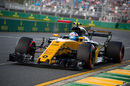 Jolyon Palmer at speed in the Renault