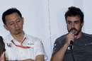 Yusuke Hasegawa and Fernando Alonso answers questions from media after qualifying