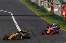 Jolyon Palmer fights a position with Stoffel Vandoorne