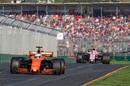 Fernando Alonso keeps his position from Esteban Ocon