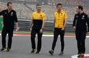 Jolyon Palmer walks the track