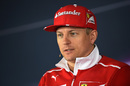 Kimi Raikkonen answers the questions in the press conference