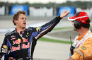 Sebastian Vettel angrily gesticulates after his collision with Mark Webber