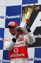 Lewis Hamilton with another very large trophy after his win at the Turkish Grand Prix