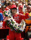 Dario Franchitti celebrates winning his second Indianapolis 500