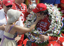 Dario Franchitti is congratulated by his wife Ashley Judd after winning his second Indianapolis 500