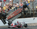 Mike Conway's car crashes upside down into the fencing