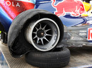 Sebastian Vettel's right rear tyre after colliding with Mark Webber