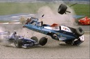 Alex Wurz crashes into the first corner of the Canadian Grand Prix