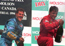 Michael Schumacher celebrates winning the 1994 Canadian Grand Prix
