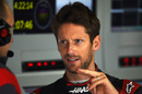 Romain Grosjean in the Haas garage