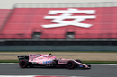 Esteban Ocon at speed in the Force India