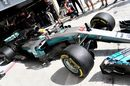 Lewis Hamilton leaves the pit for the run