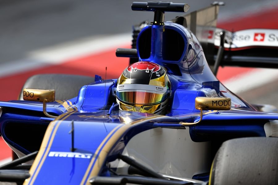 Pascal Wehrlein heads down the pit lane in the Sauber