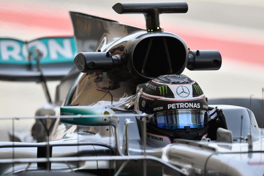 Valtteri Bottas sits in the Mercedes cockpit