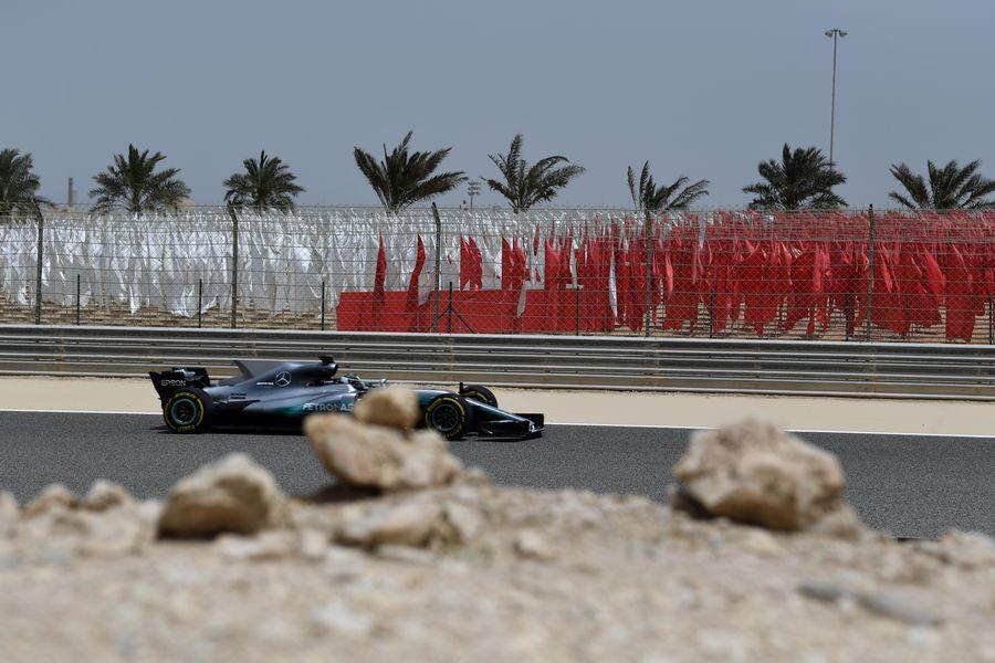 Valtteri Bottas on track in the Mercedes