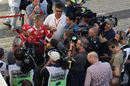 Sebastian Vettel talks with the media