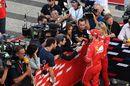 Sebastian Vettel talks with media