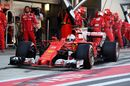 Sebastian Vettel leaves the pit