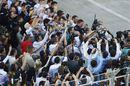 Valtteri Bottas  cerebrates with Mercedes