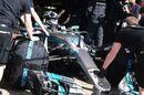 Valtteri Bottas in the Mercedes cockpit in the garage