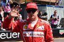 Kimi Raikkonen celebrates taking pole position