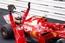 Sebastian Vettel celebrates on the palc ferme