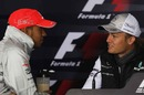 Lewis Hamilton chats with Nico Rosberg