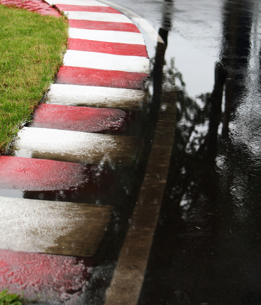 A flooded apex at the Circuit Gilles Villeneuve on Thursday