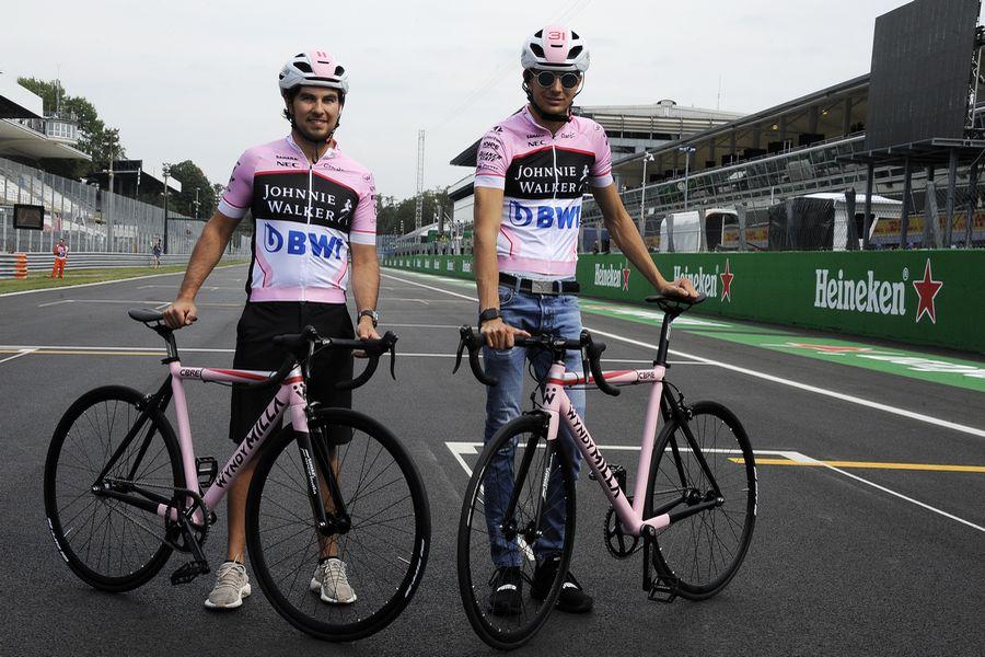 Sergio Perez and Esteban Ocon with bikes
