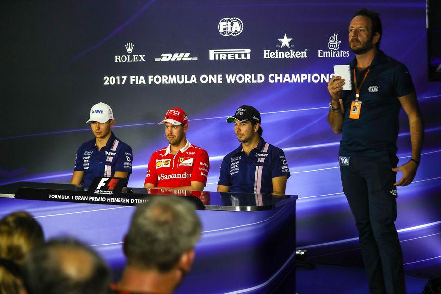 Esteban Ocon, Sebastian Vettel, Sergio Perez and Matteo Bonciani in the Press Conference