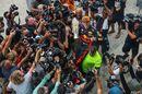 Race winner Max Verstappen celebrates