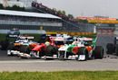Tonio Liuzzi and Felipe Massa make contact at the start