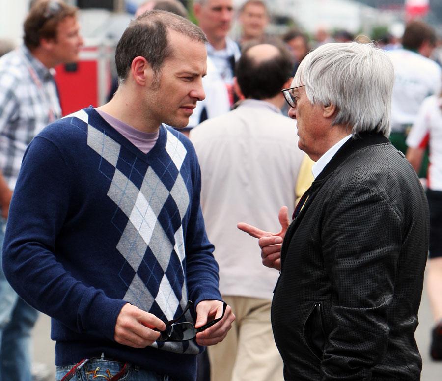 Jacques Villeneuve talks to Bernie Ecclestone at the 2010 Canadian Grand Prix